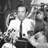 In this Wednesday, Sept. 14, 1976 file photo, Ramsey Clark, Democratic candidate for the U.S. Senate, center, speaks at Lincoln Center in New York. Ramsey Clark, the attorney general in the Johnson administration who became an outspoken activist for unpopular causes and a harsh critic of U.S. policy, has died, Friday, April 9, 2021. He was 93. (AP Photo/Dave Pickoff, File)