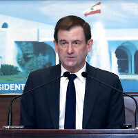 In this photo released by the Lebanese government, US Undersecretary of State for Political Affairs David Hale, speaks after meeting with Lebanese President Michel Aoun, at the presidential palace, in Baabda, east of Beirut, Lebanon on April 15, 2021. (Dalati Nohra/Lebanese Official Government via AP)