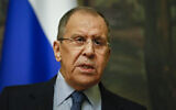 Russian Foreign Minister Sergey Lavrov speaks to the media during his and Serbia's Foreign Minister Nikola Selakovic joint news conference following their talks in Moscow, Russia, April 16, 2021. (Yuri Kochetkov/Pool Photo via AP)