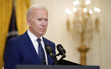 In this April 15, 2021, file photo, US President Joe Biden speaks about Russia in the East Room of the White House in Washington. (AP Photo/Andrew Harnik, File)