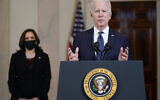 President Joe Biden, accompanied by Vice President Kamala Harris, speaks Tuesday, April 20, 2021, at the White House in Washington, after former Minneapolis police Officer Derek Chauvin was convicted of murder and manslaughter in the death of George Floyd. (AP Photo/Evan Vucci)