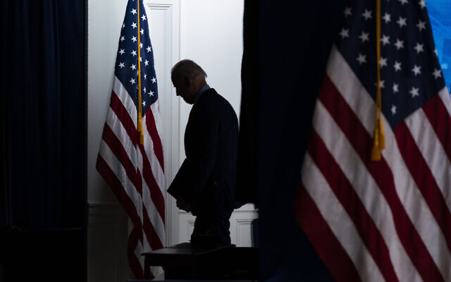 US President Joe Biden walks off after speaking about COVID-19 vaccinations at the White House on April 21, 2021, in Washington. (AP Photo/Evan Vucci)
