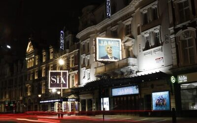 A general view of the exterior of the Apollo Theater in London, Thursday, April 8, 2021, which is preparing to continue its run of the musical 'Everybody's Talking About Jamie' (AP Photo/Alastair Grant)
