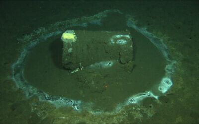 A barrel sits on the seafloor near the coast of Catalina Island, California, where marine scientists say they have found what they believe to be as many as 25,000 barrels that possibly contain DDT, March 2021. (David Valentine/UC Santa Barbara / RV Jason, via AP)
