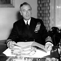 In this April 22, 1955 file photo, British Admiral Earl Louis Mountbatten sits at his desk in full uniform for the first time at the Admirality in London.   (AP Photo, File)