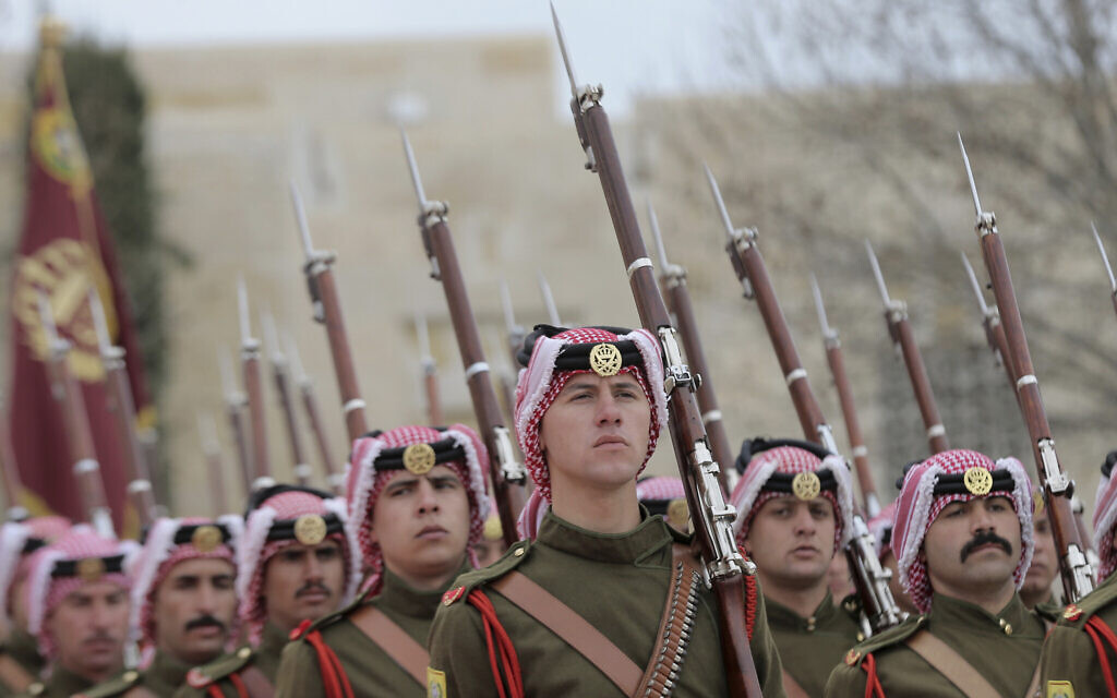 Illustrative: A Jordanian honor guard stands for review at the Royal Palace, in Amman, Jordan, March 2, 2020. (AP Photo/Raad Adayleh)