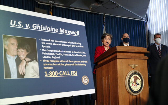 Audrey Strauss, Acting United States Attorney for the Southern District of New York, center, speaks alongside William F. Sweeney Jr., Assistant Director-in-Charge of the New York Office of the Federal Bureau of Investigation, center right, and New York City Police Commissioner Dermot Shea, right, during a news conference to announce charges against Ghislaine Maxwell for her alleged role in the sexual exploitation and abuse of multiple minor girls by Jeffrey Epstein, July 2, 2020, in New York. (AP Photo/John Minchillo)