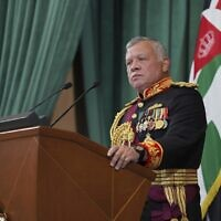 File: Jordan's King Abdullah II gives a speech during the inauguration of the 19th Parliament's non-ordinary session, in Amman Jordan, Thursday, Dec. 10, 2020. (Yousef Allan/The Royal Hashemite Court via AP)