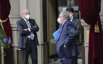 Mikhail Ulyanov, Russia's ambassador to the IAEA, arrives at the Grand Hotel Wien where closed-door nuclear talks with Iran take place, in Vienna, Austria, Thursday, April 15, 2021. (AP Photo/Lisa Leutner)