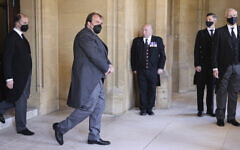 Philipp, prince of Hohenlohe-Langenburg, second left, attends the funeral of Britain's Prince Philip inside Windsor Castle in Windsor, England, April 17, 2021. (Chris Jackson/Pool via AP)