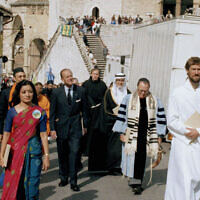 Prince Philip, the Duke of Edinburgh, president of the World Wildlife Fund, center, leads a procession with representatives of various religions from the convent to St. Francis's Basilica during an interfaith ceremony marking the end of the WWF 25th Anniversary Conference in Assisi, Italy, Sept. 29, 1986. (Giulio Broglio/AP)