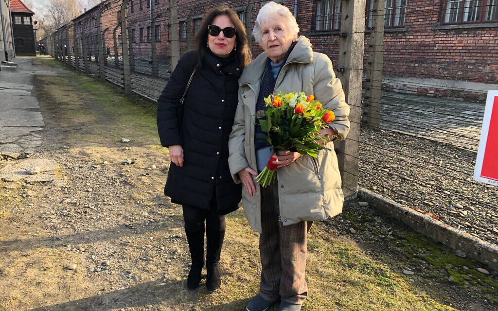 Anita Winter with Holocaust survivor Nina Weil at Auschwitz in 2020 for a ceremony commemorating the 75th liberation of the camp. (Courtesy)