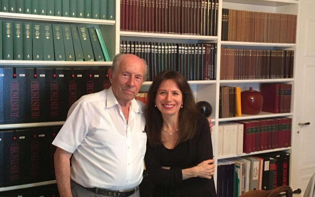 Anita Winter with Holocaust survivor Bronislav Erlich at the Gamaraal Foundation office. (Courtesy)