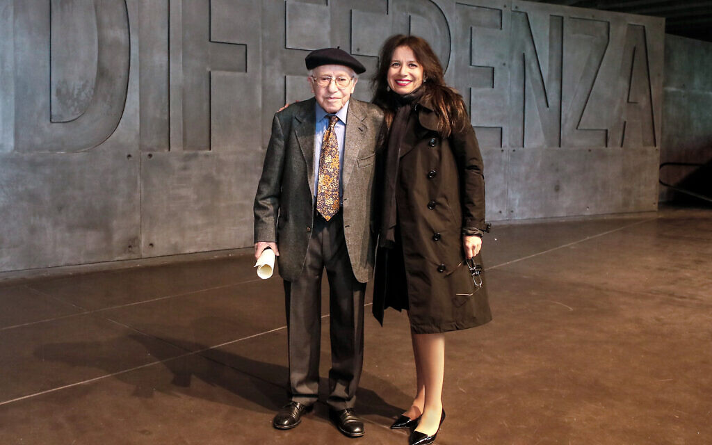 Anita Winter with Holocaust survivor Fishel Rabinowicz at the opening of the Foundation's 'Last Swiss Holocaust Survivors' exhibit at the Shoah Memorial in Milan, Italy, May 2019. (Courtesy)