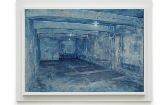 A gas chamber in Auschwitz, from 'Prussian Blue,' Yishai Jusidman's series of 50 paintings on display at the Mishkan Museum of Art at Ein Harod from March 24, 2021 (Courtesy Ein Harod)