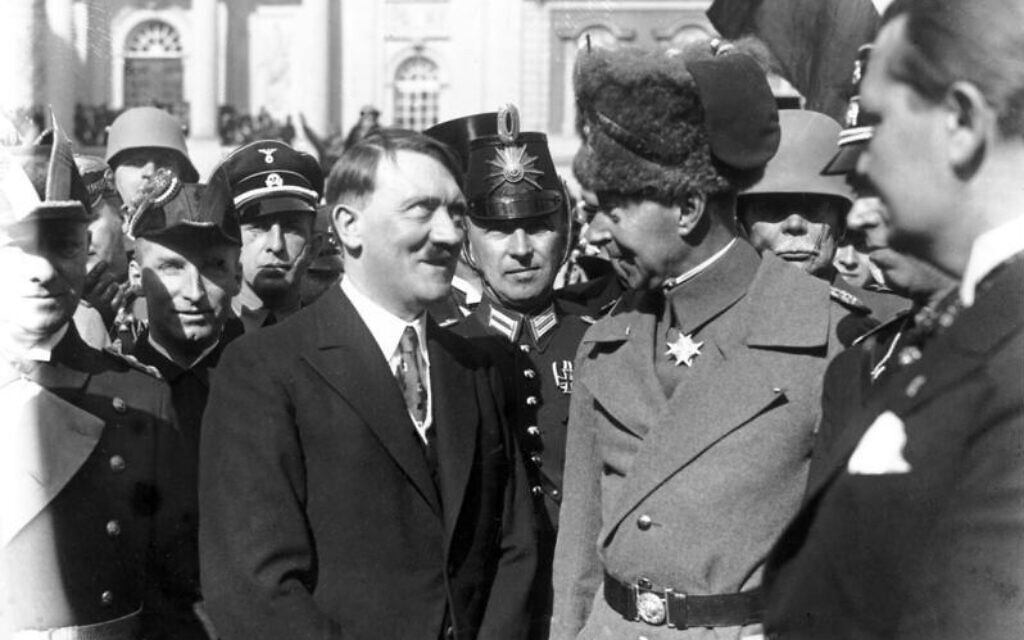Adolf Hitler and Crown Prince Wilhelm von Preussen at the Day of Potsdam in March 1933. (Bundesarchiv bild/ via Wikimedia Commons)