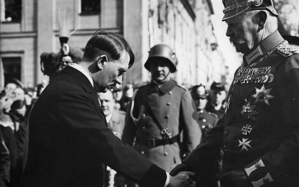 Adolf Hitler and president Paul von Hindenburg on the Day of Potsdam in March 1933. (Bundesarchiv bild/ via Wikimedia Commons)