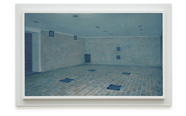 A gas chamber in Dachau, from 'Prussian Blue,' Yishai Jusidman's series of 50 paintings on display at the Mishkan Museum of Art in Ein Harod from March 24, 2021 (Courtesy Ein Harod)