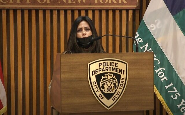 Screen capture from video of Devorah Halberstam, a Hasidic woman whose son Ari was killed in a terrorist attack in New York City in 1994, speaking at a news conference in Manhattan announcing a new police task force on identifying hate crimes, April 19, 2021. (YouTube)