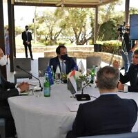 Foreign Minister Gabi Ashkenazi (right) meets with top diplomats from Greece, Cyprus and the United Arab Emirates in Paphos, Cyprus, on April 16, 2021 (Courtesy)