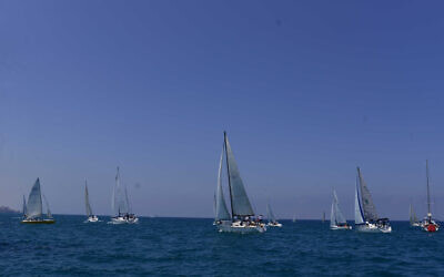 Illustrative: Israeli boats take part in the Sail Tel-Aviv Yafo sea festival featuring various sea sports, on June 17, 2017. (Tomer Neuberg/ Flash90/ File)