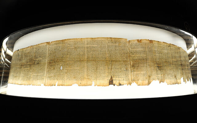 The Dead Sea scrolls at the Israel Museum, Jerusalem, November 5, 2018. (Mendy Hechtman/Flash90)