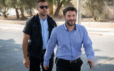 Bezalel Smotrich arrives for a meeting with Prime Minister Benjamin Netanyahu at his office in Jerusalem (File: Yonatan Sindel/Flash90)