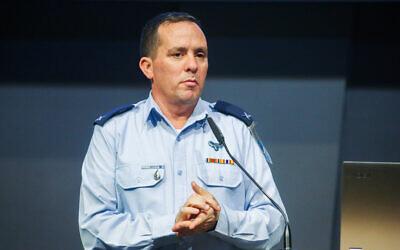 Brig. Gen. Ran Kochav, commander of the Israel Air Force's Air Defenses, speaks at a conference in Rishon Lezion on December 2, 2019. (Flash90)