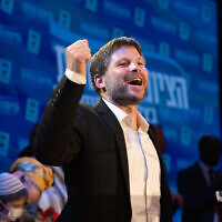 Religious Zionism party leader Bezalel Smotrich at the party headquarters in Modi'in, on elections night, March 23, 2021. (Sraya Diamant/Flash90)