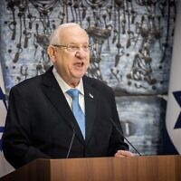 Israeli president Reuven Rivlin speaks during a ceremony of receiving the official results of the election at the President's Residence in Jerusalem on March 31, 2021. (Yonatan Sindel/Flash90)