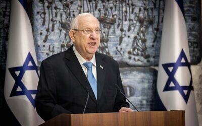President Reuven Rivlin speaks during a ceremony of receiving the official results of the election at the President's Residence in Jerusalem on March 31, 2021. (Yonatan Sindel/Flash90)