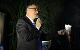 New Hope leader Gideon Sa'ar at a party event in Moshav Azaria, April 4, 2021. (Flash90)