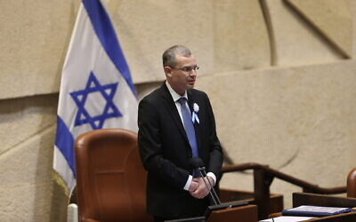 Knesset Speaker Yariv Levin at the swearing-in of the 24th Knesset on April 6, 2021. (Alex Kolomoisky/Pool/Flash90)