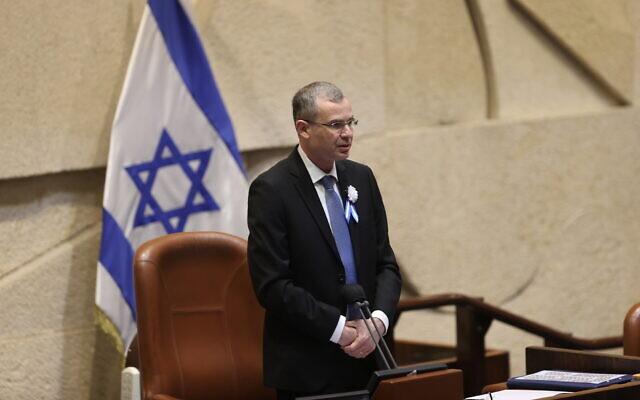 O Presidente do Knesset, Yariv Levin, na posse do 24º Knesset em 6 de abril de 2021. (Alex Kolomoisky / Pool / Flash90)
