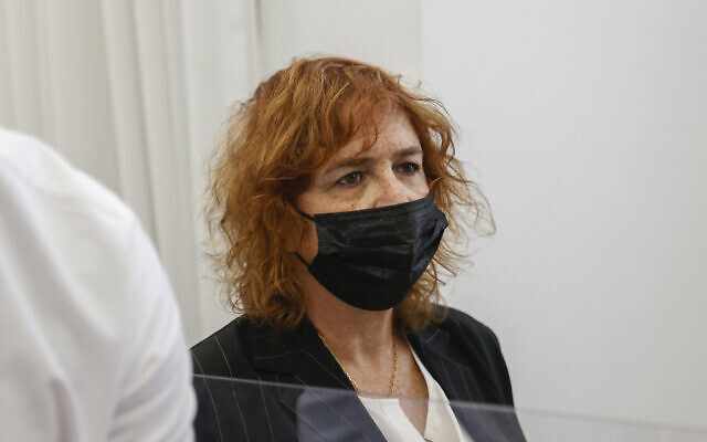 Liat Ben-Ari, prosecutor in the corruption trial against Prime Minister Benjamin Netanyahu, arrives at the Jerusalem District Court for a hearing in the trial, April 7, 2021. (Yonatan Sindel/FLASH90)