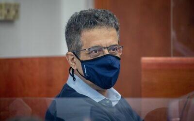 Former Walla CEO Ilan Yeshua at the Jerusalem District Court for Prime Minister Benjamin Netanyahu's corruption trial, April 7, 2021. (Yonatan Sindel/Flash90)