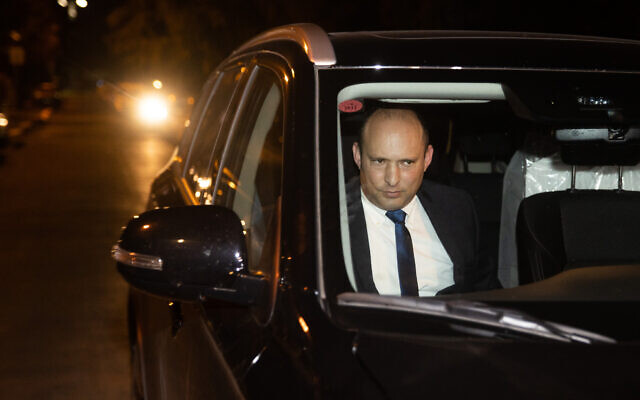 Yamina leader Naftali Bennett arrives for coalition talks with Prime Minister Benjamin Netanyahu at the Prime Minister's Residence in Jerusalem on April 8, 2021.(Yonatan Sindel/Flash90)