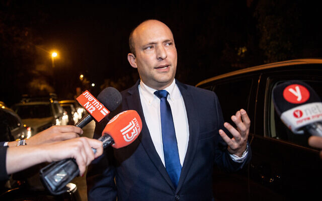 Yamina party leader Naftali Bennett arrives for coalition talks with Prime Minister Benjamin Netanyahu at the PM's official residence in Jerusalem, on April 8, 2021. (Yonatan Sindel/Flash90)