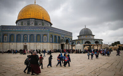 Palestinians visit the Al-Aqsa Mosque compound in the Old City of Jerusalem, ahead of the holy month of Ramadan, on April 10, 2021. (Jamal Awad/Flash90)