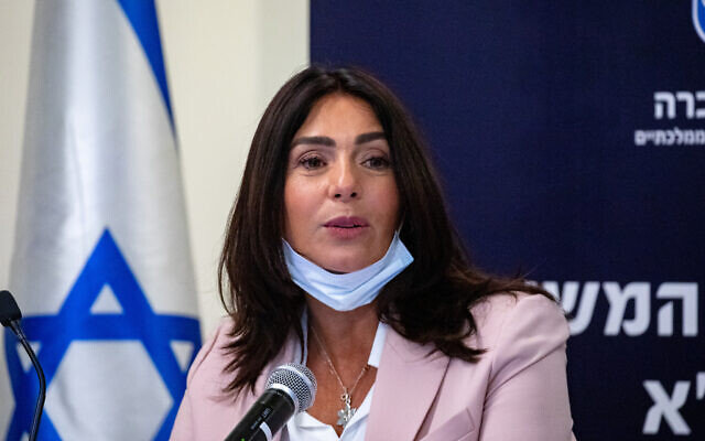 Culture and Sports Minister Miri Regev in Jerusalem, on April 12, 2021. (Olivier Fitoussi/Flash90)