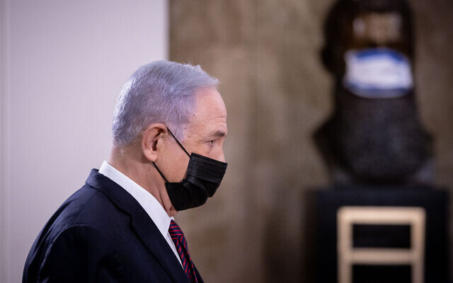 Prime Minister Benjamin Netanyahu at the Prime Minister's Office in Jerusalem on April 12, 2021, before a meeting with US Secretary of Defense Lloyd Austin. (Yonatan Sindel/Flash90)