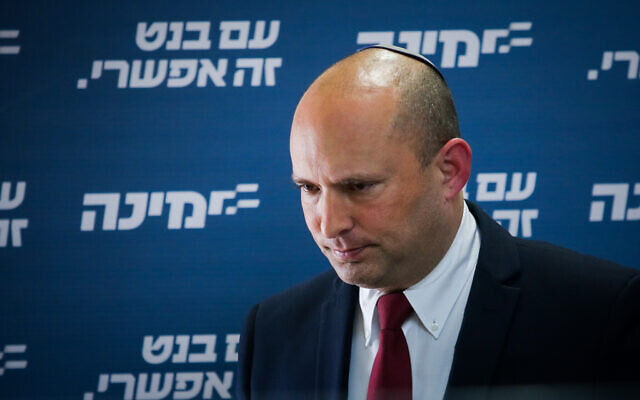 Head of the Yamina party Naftali Bennett speaks during a faction meeting at the Knesset, the Israeli parliament in Jerusalem, on April 12, 2021. (Yonatan Sindel/Flash90)