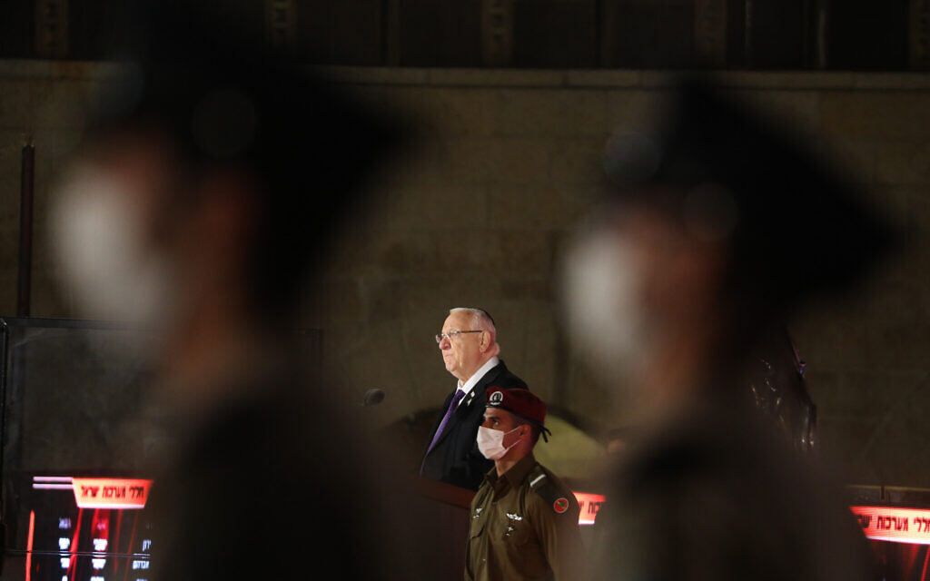 President Reuven Rivlin speaks at a ceremony marking Memorial Day for Israel's fallen soldiers and victims of terror, at the Western Wall in Jerusalem's Old City, on April 13, 2021. (Olivier Fitoussi/Flash90)