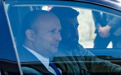 Yamina's Naftali Bennett arrives for a meeting with Prime Minister Benjamin Netanyahu at his official residence in Jerusalem, on April 13, 2021 (Yonatan Sindel/Flash90)