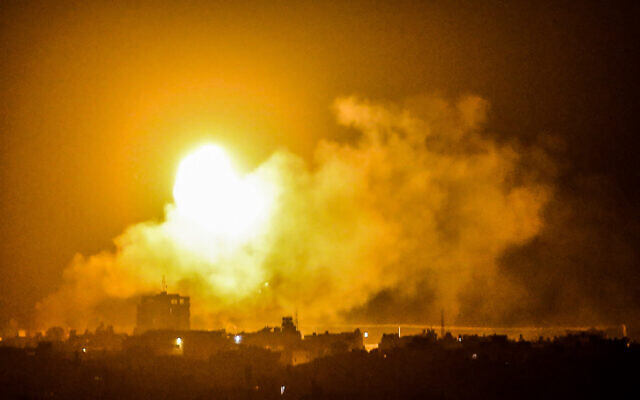 A ball of fire and smoke rises during Israeli airstrikes in Rafah, in the southern Gaza Strip on April 17, 2021. (Abed Rahim Khatib/Flash90)