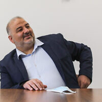Mansour Abbas, head of the Ra'am party, leads a faction meeting in the Knesset on April 19, 2021. (Olivier Fitoussi/Flash90)