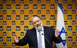 Shas party leader Aryeh Deri leads a Shas faction meeting at the Knesset, in Jerusalem on April 19, 2021. (Olivier Fitoussi/ Flash90)