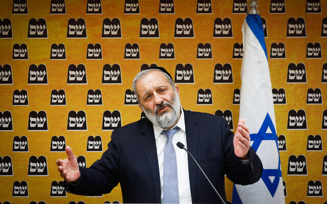 Shas party leader Aryeh Deri leads a Shas faction meeting at the Knesset in Jerusalem on April 19, 2021. (Olivier Fitoussi/Flash90)