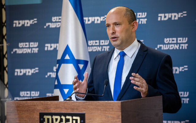 Yamina leader Naftali Bennett delivers a statement to the press at the Knesset on April 21, 2021. (Yonatan Sindel/Flash90)