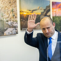 Yamina party leader Naftali Bennett at a press conference in the Knesset, in Jerusalem on April 21, 2021. (Yonatan Sindel/Flash90)